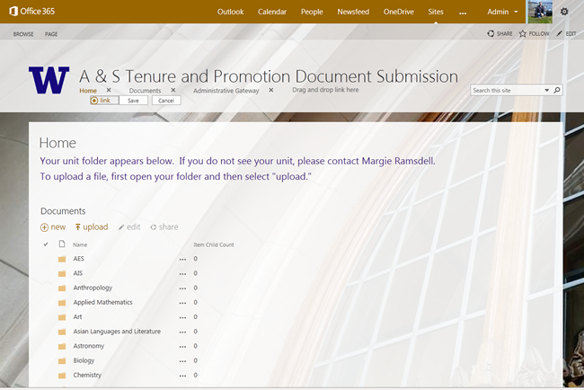 Sample of Tenure and Promotion Document Review web site