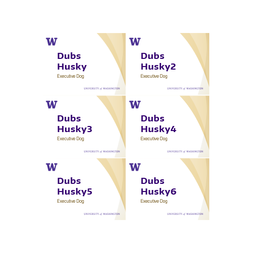 a 3 by 4 name tag template thumbnail showing three rows and two columns on an 8.5 x 11 page of UW College of Arts & Sciences branded name tags with gold curves background