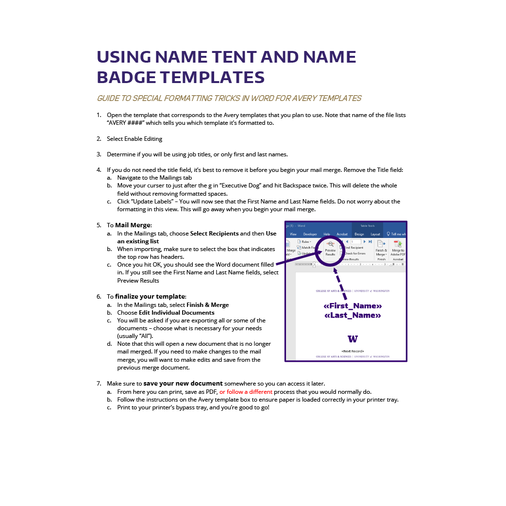 Thumbnail showing a troubleshooting guide for creating a name tent in Microsoft Word