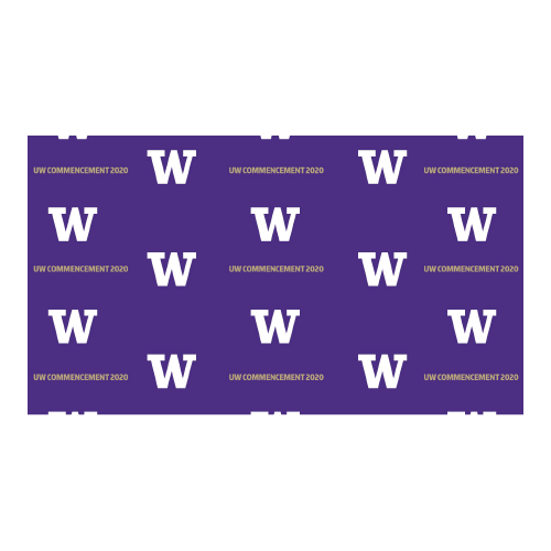 purple background with pattern of UW logo W in white and UW Commencement 2020 written out